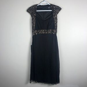 Tadashi Shoji Black Beaded Silk Dress 10 NWT